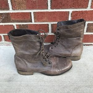 Steve Madden P-Kombat Gray Leather Boots 8.5 M